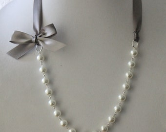 White Pearl and Charcoal Gray Ribbon Bow Necklace