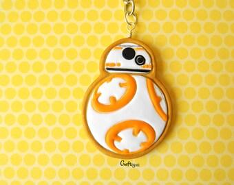 BB8 cookie keychain /  miniature food / polymer clay jewelry