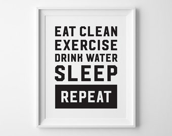 Inspirational Print, Fitness Inspriation, Exercise Sleep Repeat, Sport Fitness Exercise Motivational Print, Black and White Fitness Decor