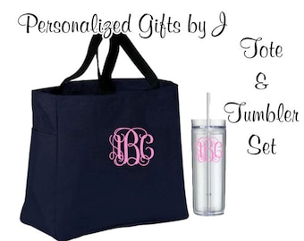 5 Totes and Tumblers, Bridesmaid Gifts, Bridesmaid Bags, Skinny Tumblers, Bridesmaids Totes and Tumbler Set, Bridal Party Gift, Wedding Bag