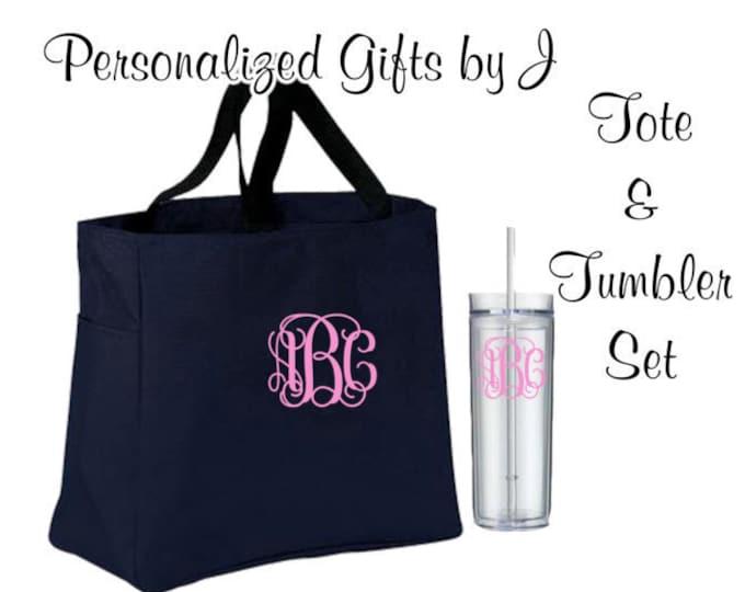 6 Totes and Tumblers, Bridesmaid Gifts, Bridesmaid Bags, Skinny Tumblers, Bridesmaids Totes and Tumbler Set, Bridal Party Gift, Wedding Bag
