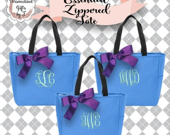 10 Personalized Bridesmaid Gift Tote Bags Monogrammed Tote, Bridesmaids Tote, Personalized Tote