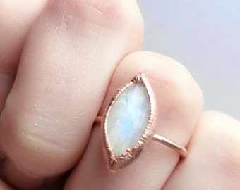Rainbow Moonstone Ring | Marquise Moonstone Ring | Crystal Ring | Copper Ring | Gemstone Ring | Electroformed Ring | Gift for Women