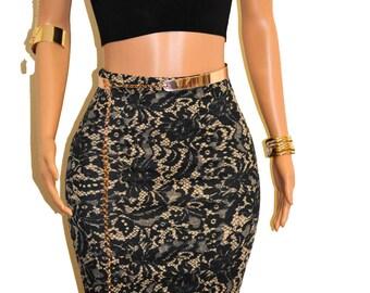 Cute Black & Tan Lace Print Pencil Skirt