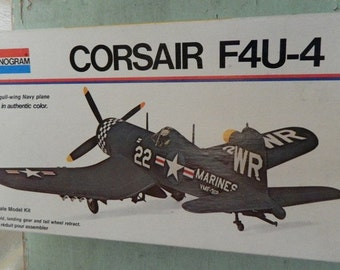 Model airplane Corsair F4U-4 Fighter Plane 1/48 scale kit  Monogram Military aircraft  Decals Navy & Marines Aviation Naval Carrier Plane
