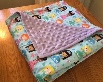 Princess Blanket~ Kids Blanket, Girl Blanket, Minky Blanket, Toddler Blanket, Princess Blanket
