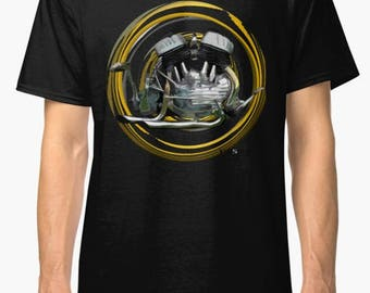 Harley Davidson Flathead V-Twin inspired Motorcycle engine T-Shirt No67 INISHED Productions