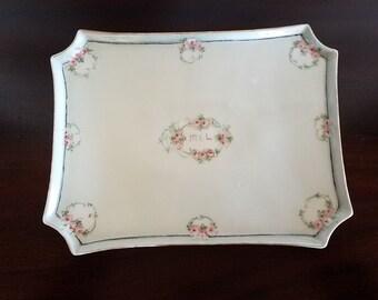 Antique Limoges 10 Inch Porcelain Dresser Tray