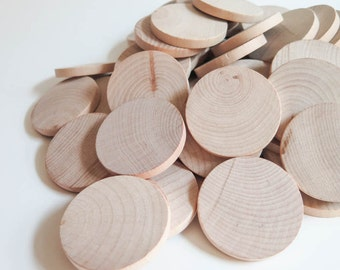 Unfinished Wooden Discs Coins Circles - 2 inch (5 cm) | Wood Discs - Set of 100