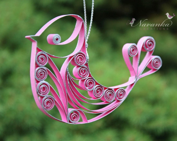 Paper Quilling Pink Bird Ornament, pink gift, breast cancer survivor, Christmas ornament