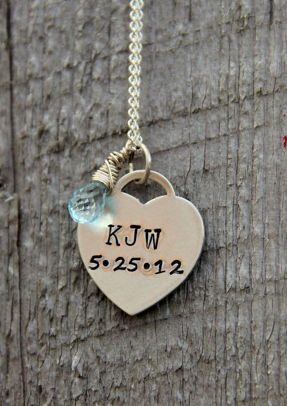 New Bride Gift Hand stamped wedding date jewelry Change of