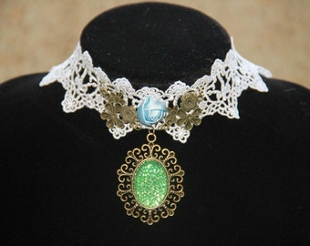 Groom baroque vintage style lace Gothic Necklace blue green