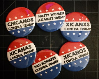 """AGAINST/CONTRA TRUMP Pins, Single Button, Pack of 4, or a Dozen, 1.25"""" Pinback Buttons"""