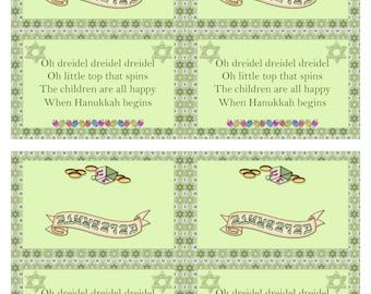 Digital Printable Treat Bag Toppers - Happy Hanukkah - Dreidel- HanukkahTreat Bag Topper