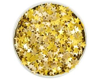 Gold Star Edible Glitter - metallic gold star sprinkles, metallic gold edible glitter stars, gold star sprinkles