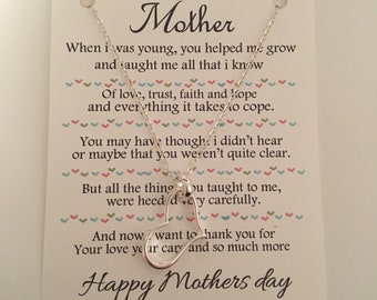 Mother's Day open heart necklace .