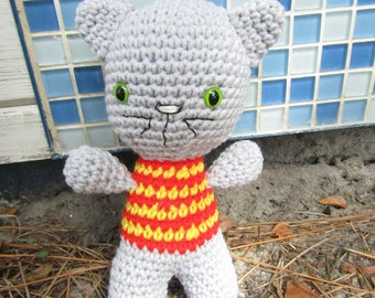 Jerry the Gray Boy Kitten. Plush Amigurumi Kitten. Stuffed Toy Kawaii Cat. Cute Crochet Cat. Stocking Stuffer. Gift for Kids & Cat Lovers