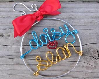 Personalized Couple Ornament / Wire Ornament/ Christmas Ornament / Holiday Ornament/ Holiday Gift / Couples Gift