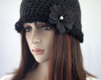 Gray and Black Cloche Hat with Flower