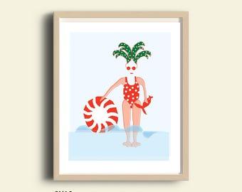 Printable swimmer girl wall art, beach art, girls wall art gift, dorm decor, instant download, dorm wall art, wall art, teen girl room decor