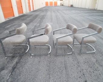 HOPELESS CHROMANTIC / Set Of 4 Gorgeous Chrome Milo Baughman For DIA Dining  Chairs On Wheels / Modern