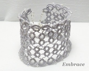 Tatting jewelry wide Lace Cuff with glass bead accents - Embrace in silver gray formal Victorian jewelry large size