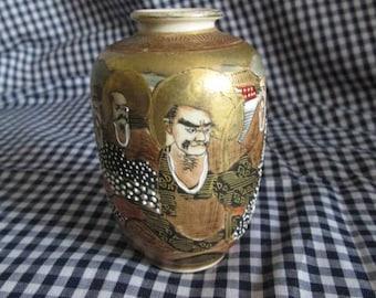 Japanese Moriage Satsuma - 8 Immortals & Dragon- Miniature Vase