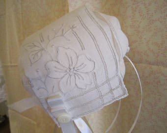 White Cutwork and Embroidered Baby Bonnet
