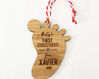 Footprint Baby's First Christmas Bamboo Ornament