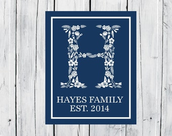 Family Name Print - Housewarming Gift - W Floral Monogram- Engagement Gift