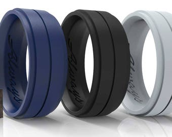 ARUA Silicone Weddings Rings for Men 3-PACK. Comfortable and Durable Rubber Wedding Bands for Sports, Gym, Outdoors.Black, Grey, Dark Blue.