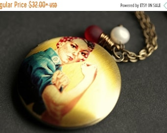 """SUMMER SALE Distressed """"We Can Do It"""" Locket Necklace. Womanpower Necklace. Rosie the Riveter Necklace with Glass Teardrop and Pearl. Handma"""