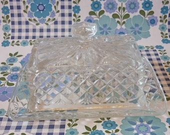 Crown Crystal Glass Butter Dish