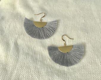 Silver  - fan earrings