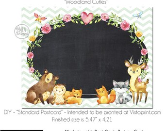 Postcard, DIY Vistaprint Standard Size Postcard, Woodland Cuties, Blank Template Instant Download - Notecard Invitation, Party Invite