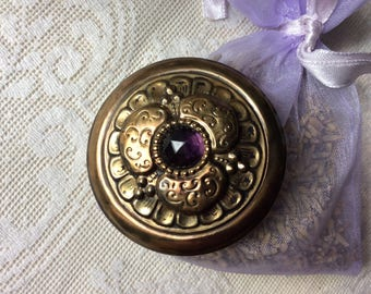 Antique Gay 1890's Brass stamped and Amethyst Glass Jewel, 1 7/8""