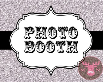 INSTANT DOWNLOAD - Photo Booth Sign, Silver Glitter - Great Gatsby - Roaring Twenties - Vintage - Weddings, Birthdays, Parties