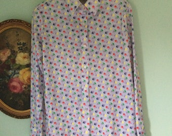 Vintage pretty in poly flora blouse