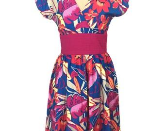 vintage 1980's floral dress / Jackie Taub for Connections / spring summer / sundress sun dress / women's vintage dress / tag size 6