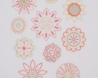 Full Blooms modern hand embroidery pattern - modern embroidery PDF pattern, digital download