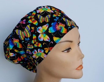 Euro Style Tie Dye Butterflies Medical Surgical Scrub Hat Vet Nurse Chemo CRNA Women Surgery Caps Chemo