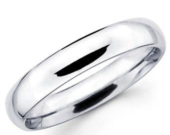 10K Solid White Gold 4mm Plain Wedding Band Ring