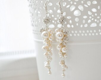 Wedding Earrings Vintage, Pearl and Crystal Bridal Earrings, Pearl Bridal Earrings, Art Deco Bridal Jewelry
