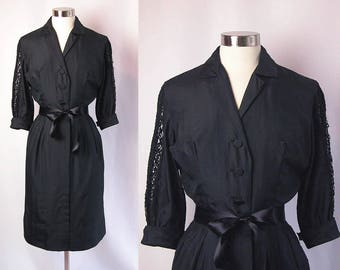1950s Dress ~ Black Silk Day Dress w Wiggle Skirt ~ Crochet Lace Sleeves and Pin Tuck Detail ~ Classy ~ Excellent Condition ~ Size Small