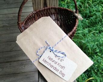 "4"" x 6""  Natural Kraft Flat Merchandise Bags • Treats • Favor • Loot Bags • Weddings • Plain Back • Crafts • Printable • Goodie Bags • Gifts"