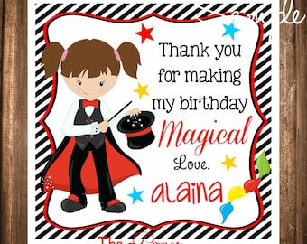Magician Gift Tags, Magician Hang Tags, Girl Magician Tags, DIY, Digital file, Magic Birthday Party