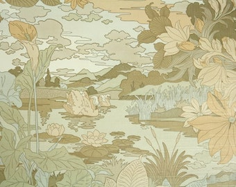 Retro Wallpaper by the Yard 70s Vintage Wallpaper - 1970s Tan and Gray Swan on Lake Bathroom Botanical Wallpaper