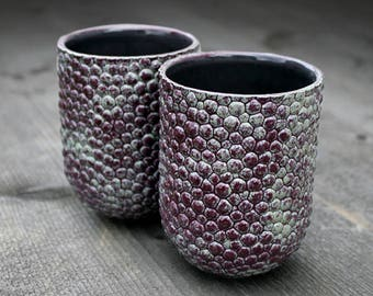Microstructure, stoneware mugs, ceramic textured mug