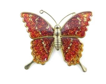 Vintage Enamel Butterfly Brooch, Red Sparkle, V86