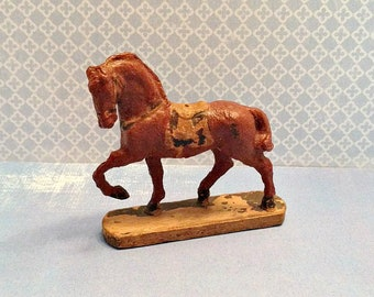 Vintage Composition Toy Horse on Wooden Plinth